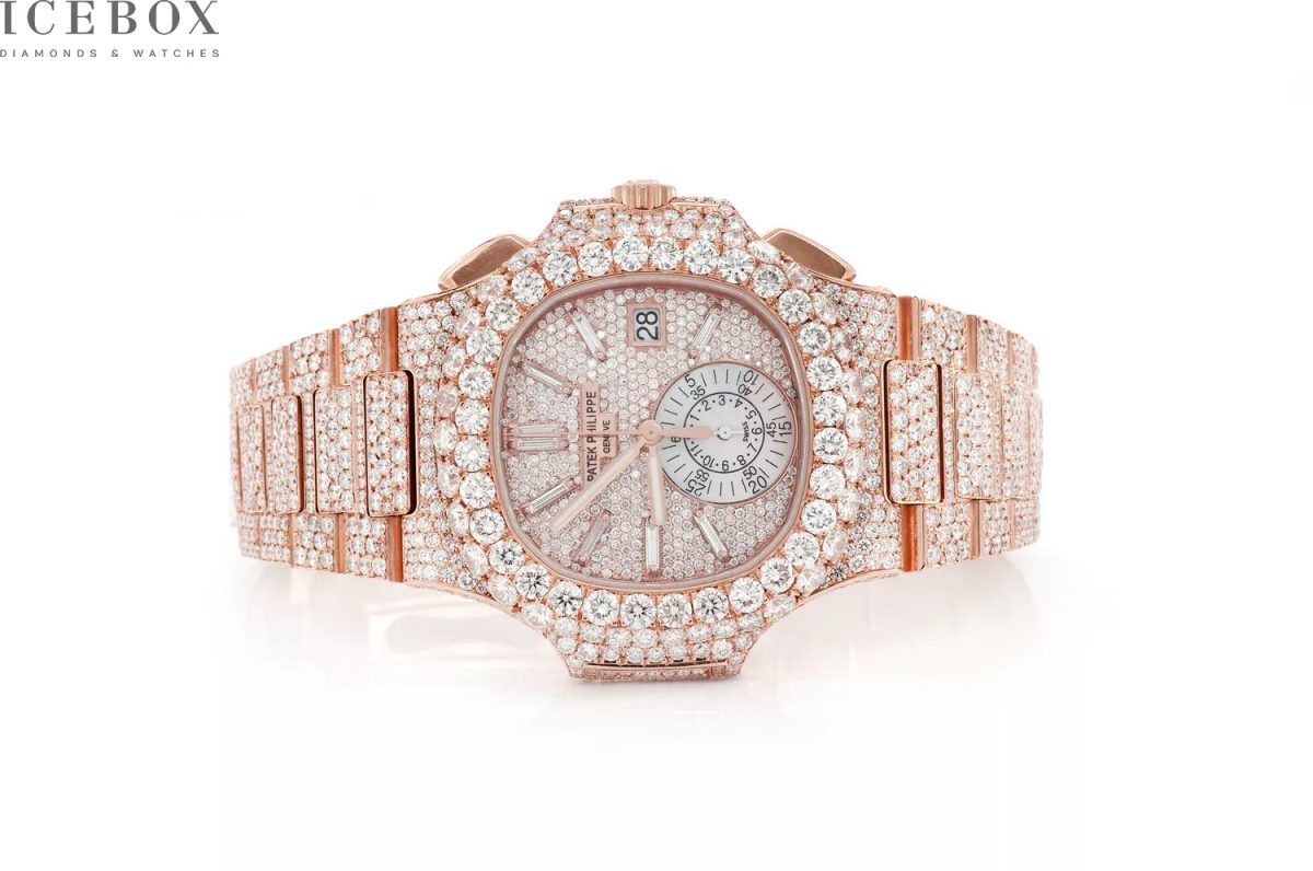 Patek Philippe Nautilus Rose Gold 40MM 30.25ctw Custom Full Iced Outside Diamonds Swiss Fake Watches