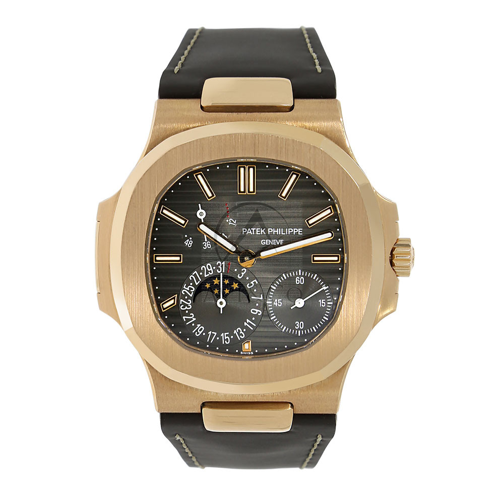 Patek Philippe Nautilus Moon Phase Watch 18K Rose Gold Leather Strap Watch 5712R-001 Top Quality Fake Watch